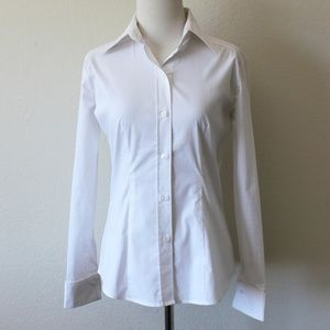 New York & Company White Cufflink Dress Shirt, XS